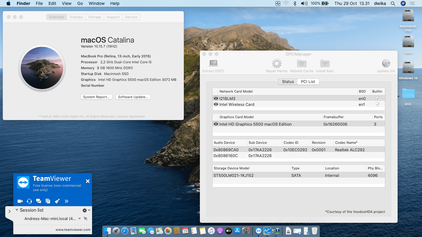 Success Hackintosh macOS Catalina 10.15.7 Build 19H2 in Lenovo Thinkpad X250
